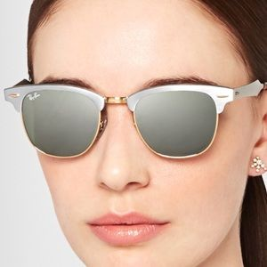 "Ray Ban ""Clubmaster"" sunglasses in brushed silver"